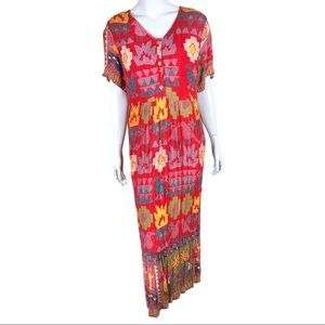 90's Red Bayou Wear Tribal Art Boho Maxi Dress